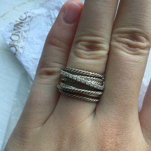 David Yurman Crossover Wide Ring w/ Diamonds Sz 7
